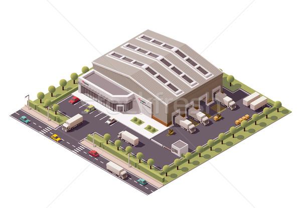 Vector isometrische magazijn gebouw icon business Stockfoto © tele52
