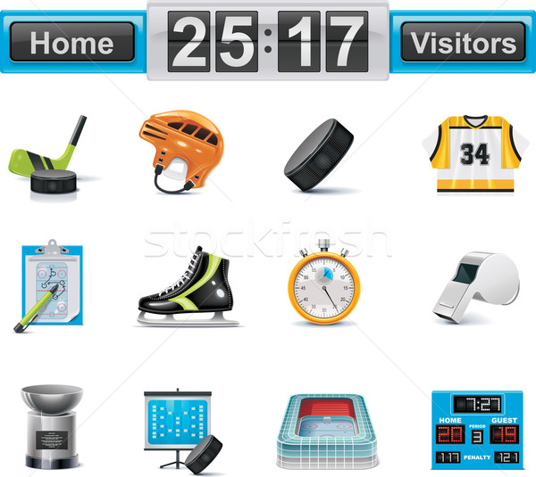 Vector ice hockey icon set Stock photo © tele52