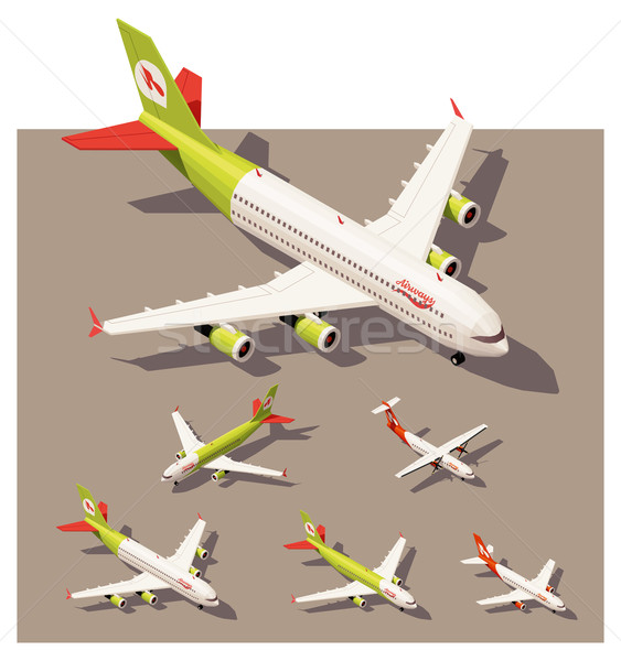 Vector isometric low poly airplanes set Stock photo © tele52