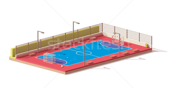 Stock photo: Vector low poly futsal court