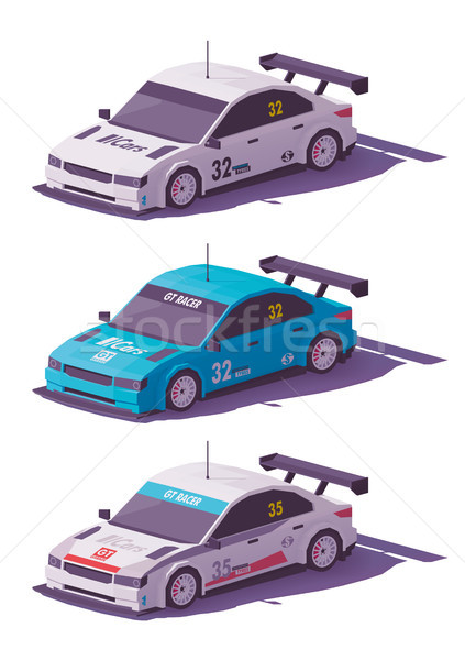 Vector low poly touring racing car Stock photo © tele52