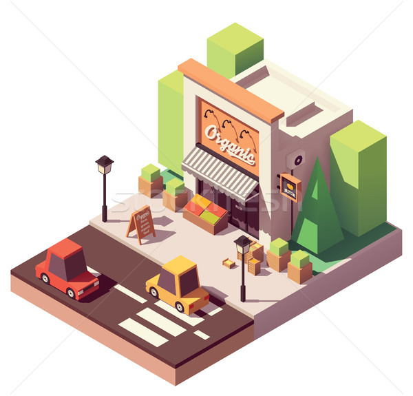 Vector isometric fruits and vegetables store Stock photo © tele52