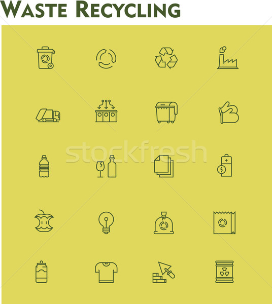 Linear waste recycling icon set Stock photo © tele52