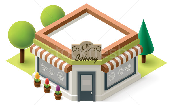 Wektora izometryczny piekarni sklep budynku ikona Zdjęcia stock © tele52
