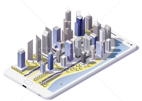 Vektor izometrikus város okostelefon képernyő alacsony Stock fotó © tele52