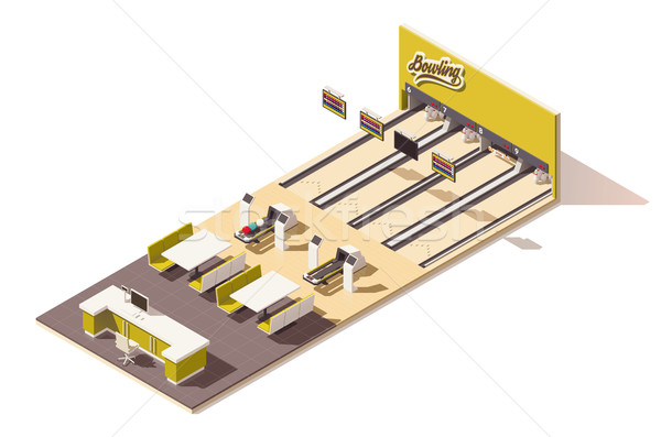 Vector isometric low poly bowling alley interior Stock photo © tele52