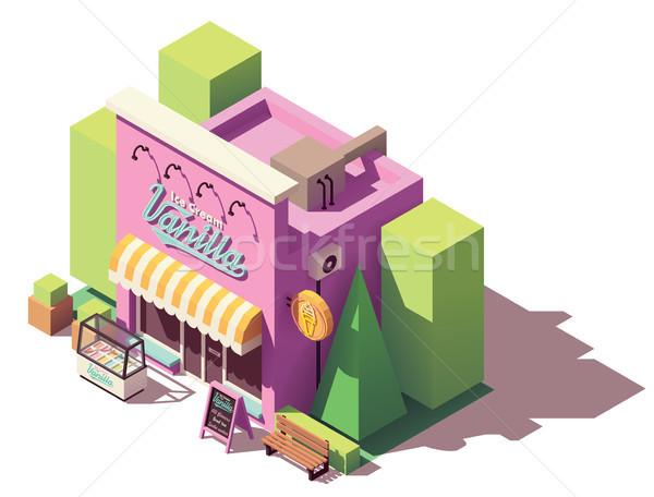 Vector isometric ice cream shop Stock photo © tele52