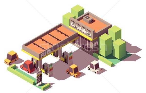 Vetor isométrica posto de gasolina posto de gasolina edifício compras Foto stock © tele52
