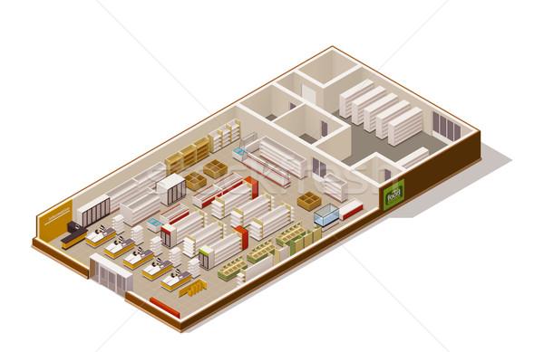 Vektor izometrikus áruház zsakett élelmiszerbolt étel Stock fotó © tele52