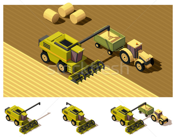 Vector isometric low poly combine harvester mowing Stock photo © tele52