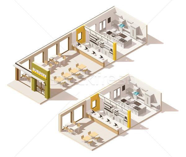 Vector isometrische laag fastfood restaurant interieur business Stockfoto © tele52