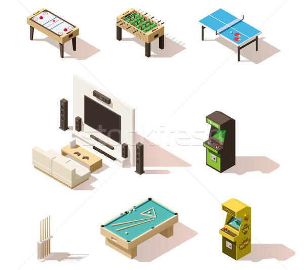 Vector isometric low poly games set Stock photo © tele52