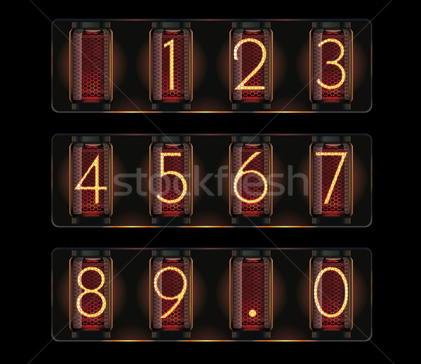 Vector nixie tube with digits Stock photo © tele52