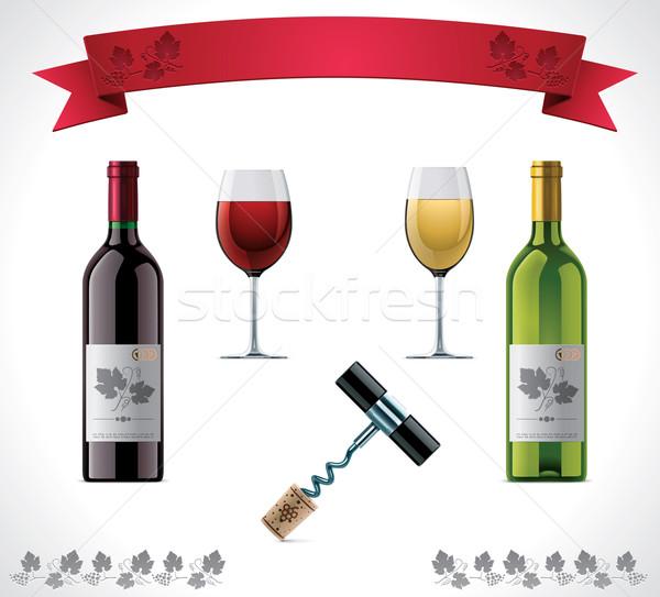 Wijn ingesteld gedetailleerd groene drinken Stockfoto © tele52
