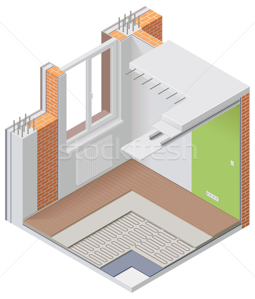 Vector isometric apartment cutaway icon Stock photo © tele52