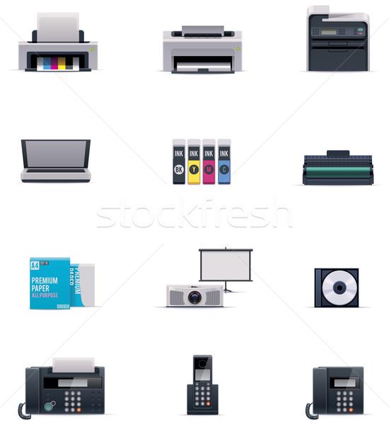 Foto stock: Vetor · escritório · eletrônica · conjunto · telefone