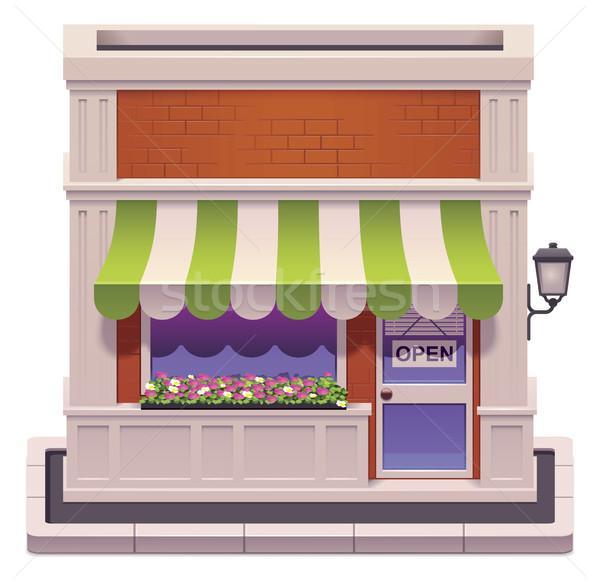 Сток-фото: вектора · небольшой · магазин · икона · подробный · здании