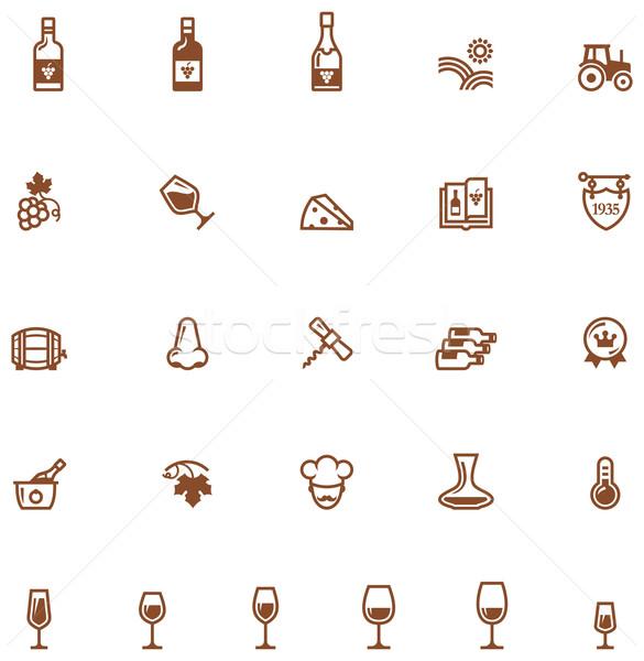 Stock photo: Wine icon set