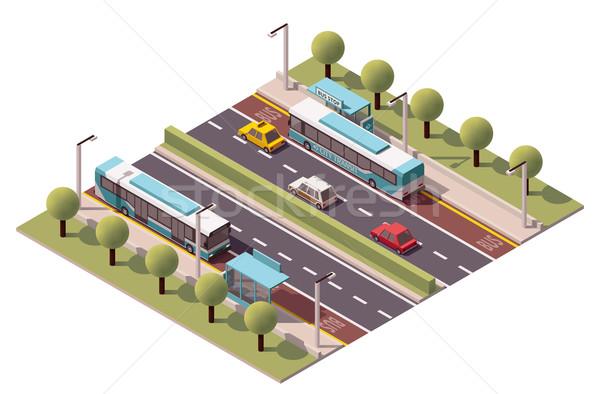 Vector isometric bus stop Stock photo © tele52