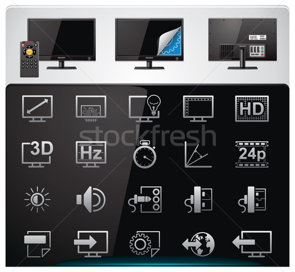 Stock photo: Vector TV features and specifications icon set. Part 2 (bw, minimalistic)