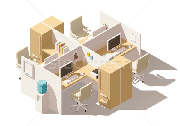 Vector isometric low poly office cubicle Stock photo © tele52