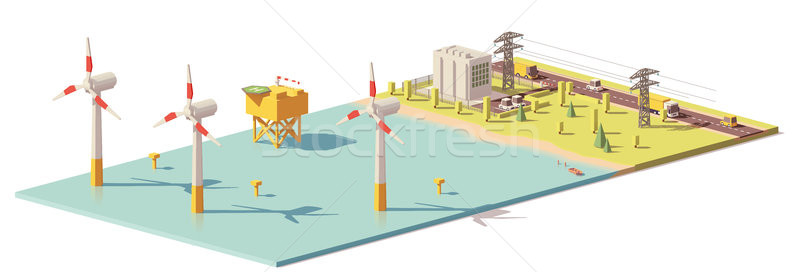 Vector low poly wind turbines power plant Stock photo © tele52