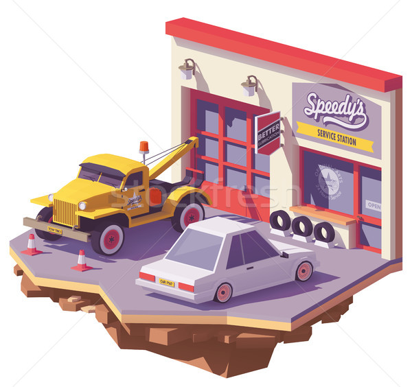 Vector low poly automobile repair shop Stock photo © tele52