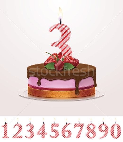 Prime Vector Birthday Cake With Candle Vector Illustration C Taras Livyy Funny Birthday Cards Online Elaedamsfinfo