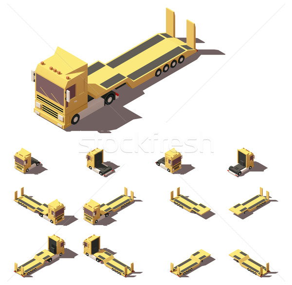 Vector isometric truck with lowboy semi-trailer icon set Stock photo © tele52