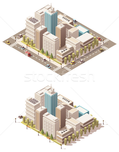Vector isometric low poly city downtown Stock photo © tele52