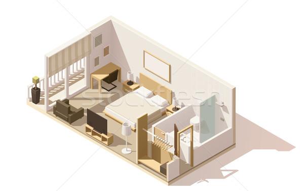 Stockfoto: Vector · isometrische · laag · hotelkamer · icon