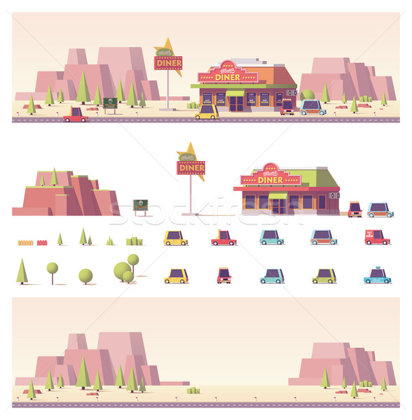 Stock photo: Vector low poly 2d buildings and city scene