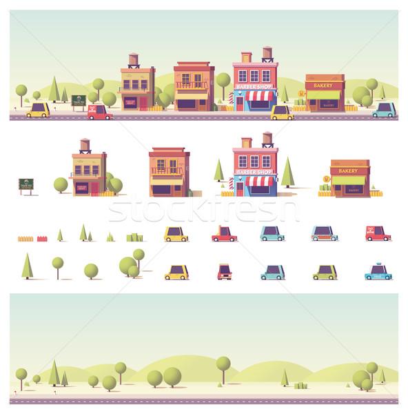 Сток-фото: вектора · низкий · зданий · город · сцена · автомобилей