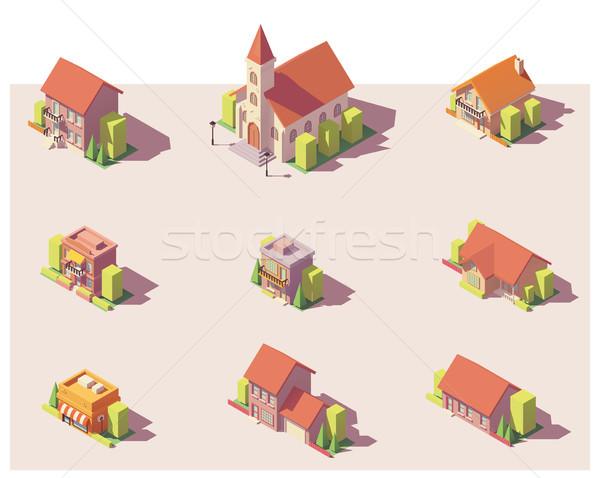 Vector low poly isometric buildings set Stock photo © tele52