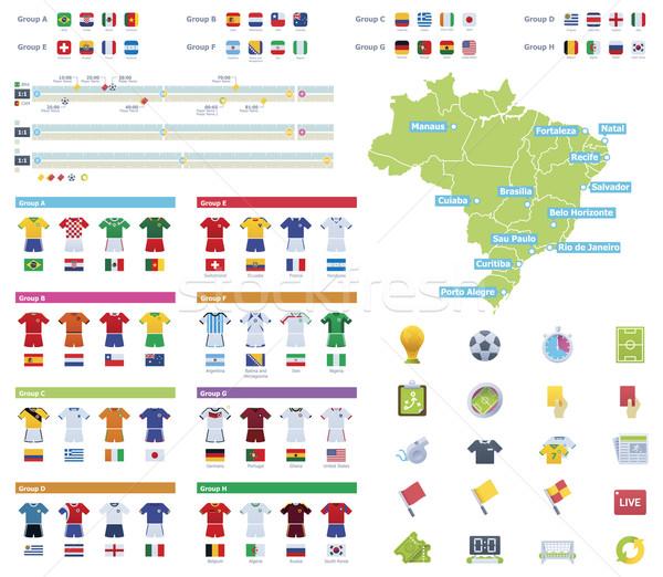 Futebol campeonato elementos conjunto ícones Foto stock © tele52
