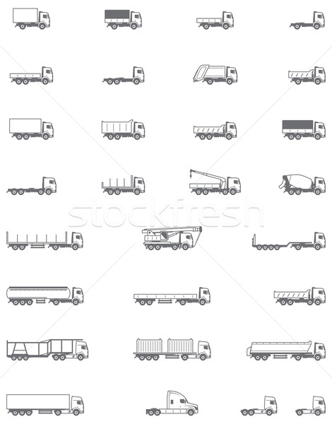 Vector trucks icons Stock photo © tele52