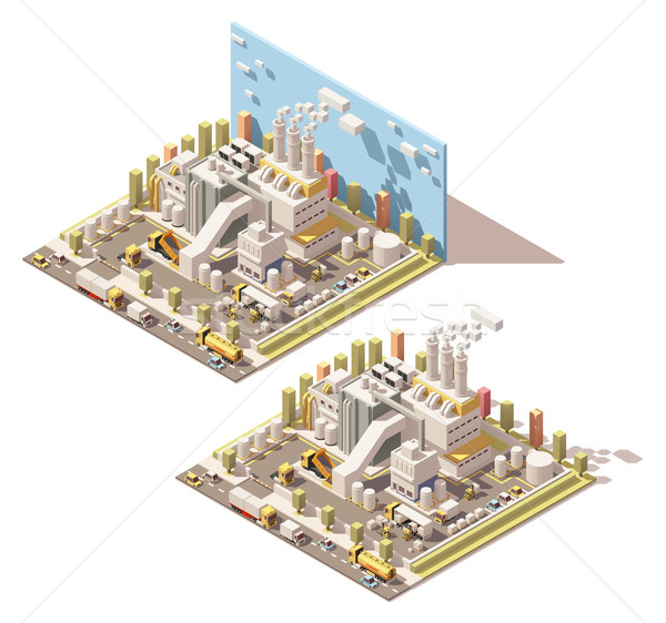 Vector isometric factory building with smoking pipes icon Stock photo © tele52