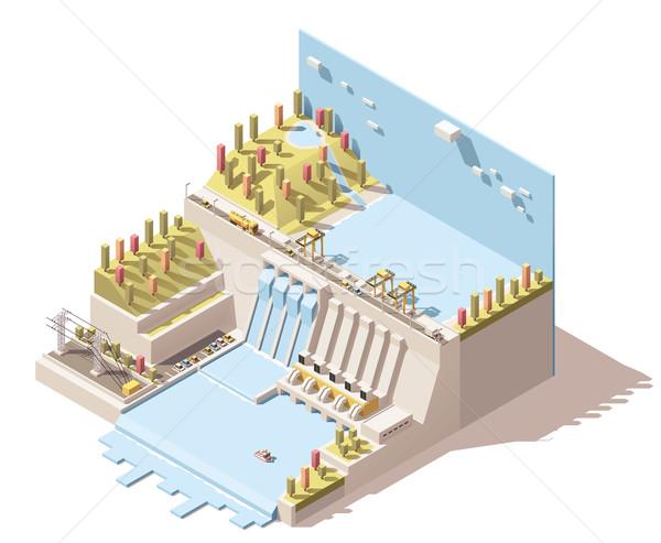 Vector isometric hydro power plant infographic Stock photo © tele52
