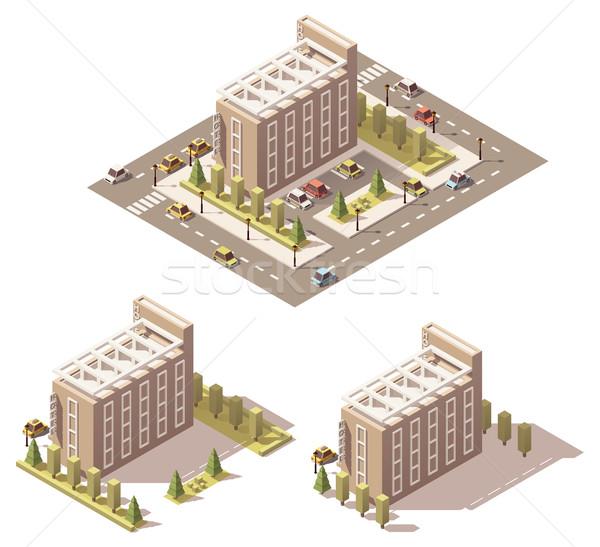 Vektor izometrikus alacsony hotel épület ház Stock fotó © tele52