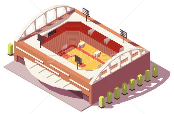 Wektora izometryczny niski koszykówki stadion budynku Zdjęcia stock © tele52