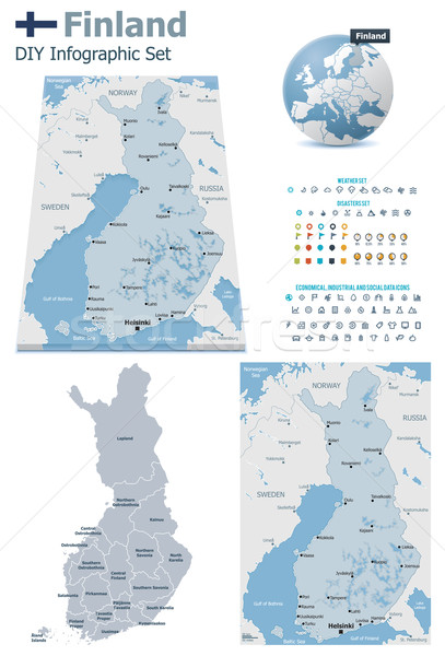 Finland maps with markers Stock photo © tele52