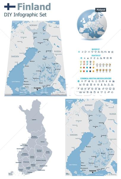 Finlandia mappe set politico simboli infografica Foto d'archivio © tele52
