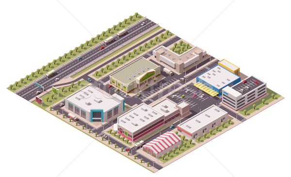 Vector isometric shopping district  Stock photo © tele52