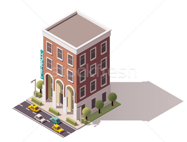 Vector isometrische herberg gebouw icon klein Stockfoto © tele52