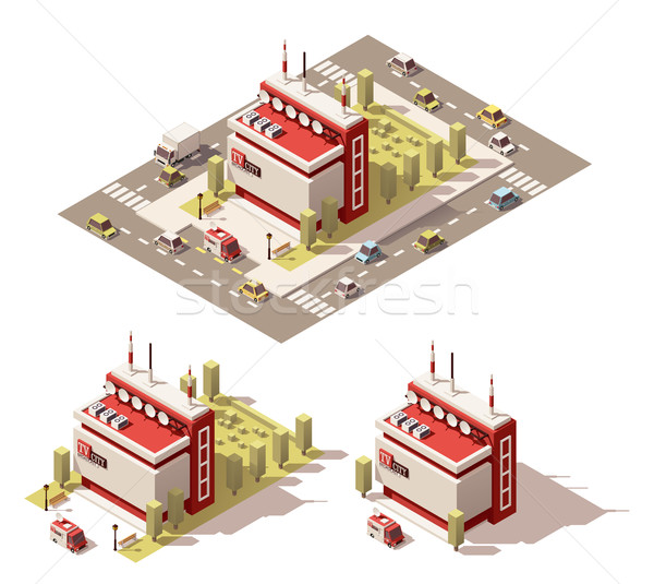 Vector isometric low poly television centre building icon Stock photo © tele52