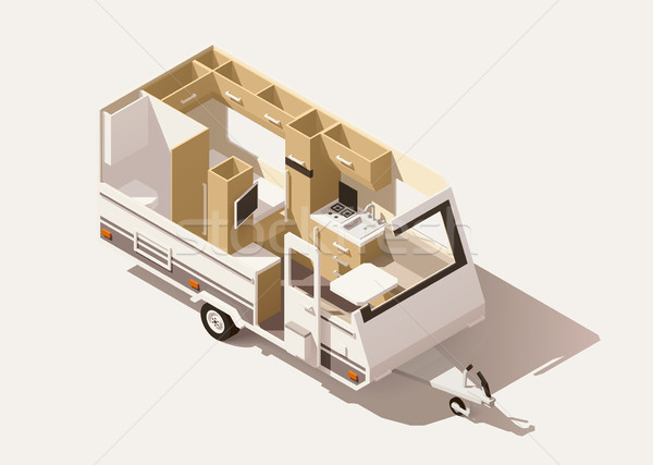 Vector isometric low poly camper trailer Stock photo © tele52