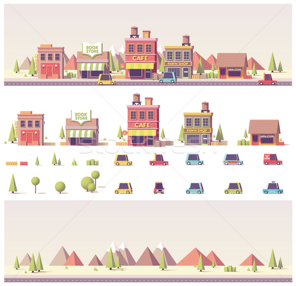 Vector low poly buildings and city scene Stock photo © tele52