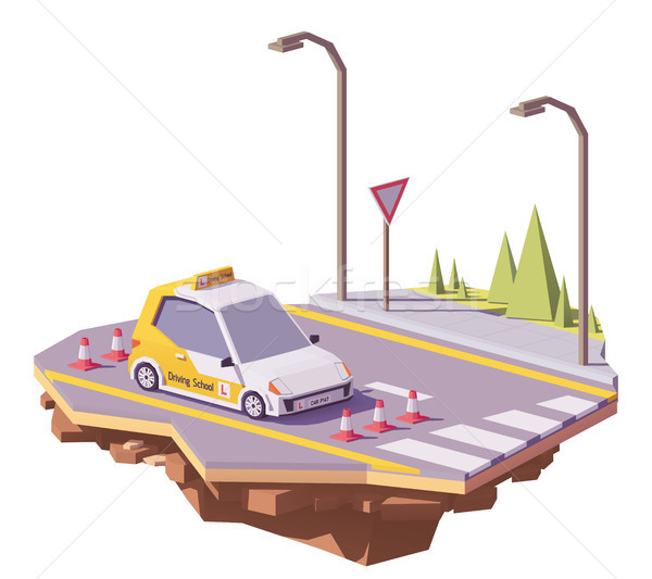 Vector low poly driving school car Stock photo © tele52