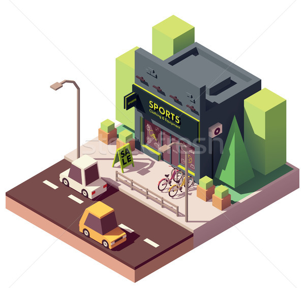 Vector isometric sports and fitness store Stock photo © tele52