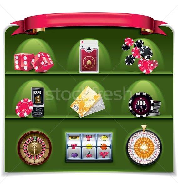 Vector gambling icon set. Part 2 (green background) Stock photo © tele52